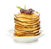 Pancakes with maple syrup close-up isolated Stock Images