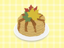Pancakes with maple syrup. For decoration of maple leaves stock illustration