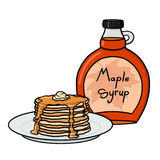 Pancakes and maple syrup illustration. Pancakes stack and maple syrup illustration Stock Photo