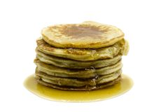 Pancakes with maple syrup isolated on white background. NPancakes with maple syrup isolated on white background stock images