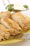 Pancakes with a meat stuffing Stock Photography