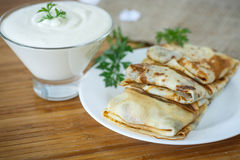 Pancakes with meat Stock Photo
