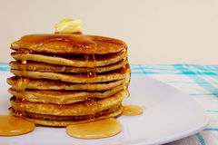 Pancakes. With melted Honey on it. Delicious Stock Photo