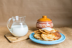 Pancakes milk stock photography