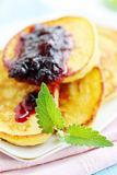 Pancakes with mint Royalty Free Stock Image