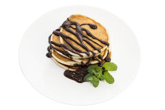 Pancakes with mint Royalty Free Stock Images