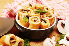 Pancakes with mushrooms. Mushroom appetizer. Stock Images