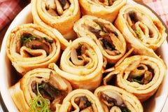 Pancakes with mushrooms. Mushroom appetizer. Royalty Free Stock Photos