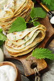 Pancakes with nettle Stock Photography