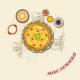 Pancakes - one of the symbols of Shrovetide. Russian translation: shrovetide. Stock Image