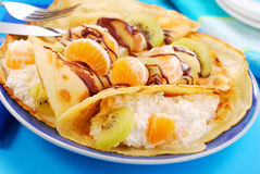 Pancakes with orange ,kiwi and cottage cheese Royalty Free Stock Photo