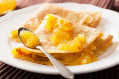Pancakes with orange marmalade Stock Images