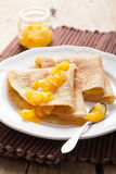 Pancakes with orange marmalade Stock Photo