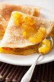 Pancakes with orange marmalade Royalty Free Stock Photos