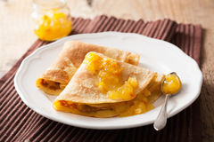 Pancakes with orange marmalade Stock Photography