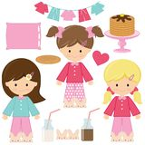 Pancakes pajamas party vector cartoon illustration. royalty free stock photo