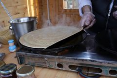 Pancakes - Palachinka, Palatschinke or palacsinta is a thin crepe - variety of pancake. Palatschinke are thin pancakes similar to Royalty Free Stock Photo