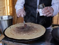 Pancakes - Palachinka, Palatschinke or palacsinta is a thin crepe - variety of pancake. Palatschinke are thin pancakes similar to. The French crepes stock photos