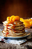 Pancakes With Peaches And Honey Royalty Free Stock Image