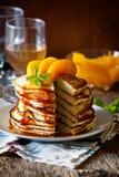Pancakes With Peaches Stock Photo