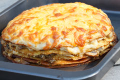 Pancakes Pie With Cheese Stock Photos