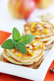 Pancakes with pine nuts royalty free stock images