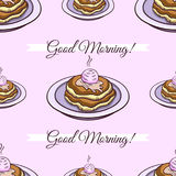 Pancakes Pink Seamless Pattern Stock Photography