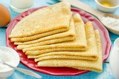 Pancakes on plate. Close up stock photos
