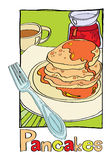 Pancakes. On a plate drizzled with syrup, standing next to a cup of tea, jam and is a fork. vector illustration for a menu Stock Images