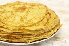 Pancakes on plate Stock Photos
