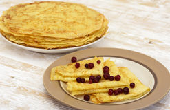 Pancakes on plate Royalty Free Stock Photography