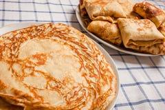 Pancakes on plates Royalty Free Stock Photo