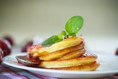 Pancakes with plum jam Royalty Free Stock Image