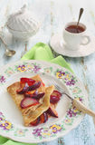 Pancakes with plum`s confiture Royalty Free Stock Images
