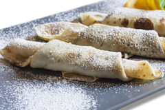 Pancakes with powdered sugar Royalty Free Stock Images