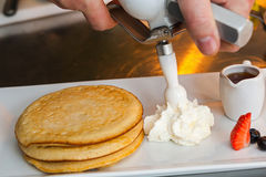 Pancakes preparing Royalty Free Stock Photo