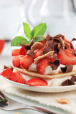 Pancakes with quark and strawberries Stock Photo