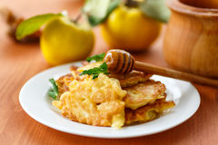 Pancakes with quince Stock Photography