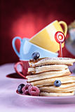 Pancakes with raspberries Royalty Free Stock Images