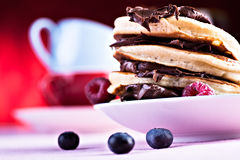 Pancakes with raspberries Royalty Free Stock Image