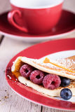 Pancakes with raspberries Royalty Free Stock Photo