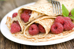 Pancakes with raspberries Royalty Free Stock Photos
