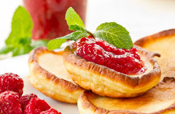 Pancakes with raspberries Stock Photography