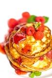 Pancakes with raspberries Royalty Free Stock Photos