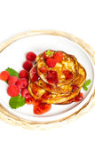 Pancakes with raspberries Royalty Free Stock Photography