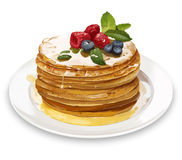 Pancakes with raspberries, honey and blueberries. Digital illust Royalty Free Stock Photo