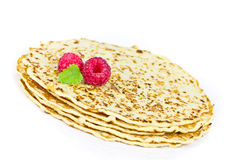 Pancakes with raspberries Stock Image