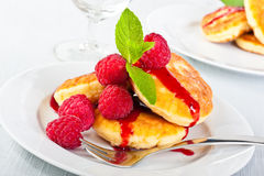 Pancakes with raspberry Stock Photography