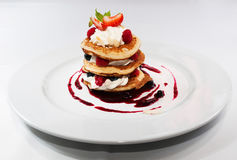 Pancakes with raspberry Stock Images