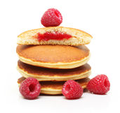 Pancakes with raspberry isolated Stock Photography